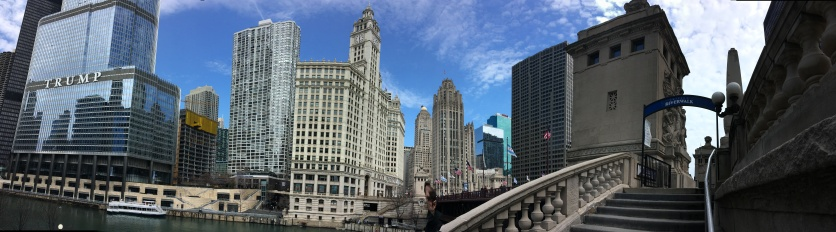 Chicago Riverwalk with view of the Tribune Tower and other buildings